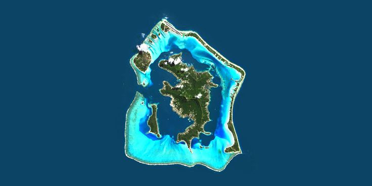 Bora Bora, Polynesia - Paradise island in the Pacific ocean surrounded by a lagoon and a barrier reef - PlanetSAT satellite image
