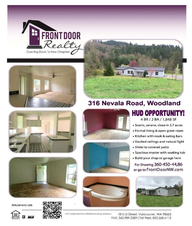 Real Estate for Sale at $160,000! Four Bedroom, two Bath, 1848 square foot one level HUD Double-Wide Manufactured Home on 2.7 acres located at 316 Nevala Road, Woodland, Washington 98674 in Cowlitz County area 81 which is not in the Woodland City Limits but are in the Woodland School District. The RMLS number is 16431206. It does not have a fireplace but does have a territorial view. It was built in approximately 1997 and the local high school is Woodland High. The annual taxes due are…