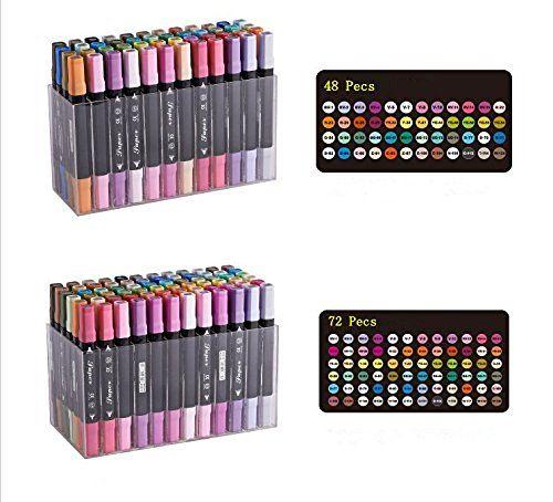 Yalulu 12/24/36/48/72 Twin Brush Marker Set Schüler Student Textmarker Grafitti Manga Künstler Marker Grafik Design Twin Tip Pen Marker Punkt (24 Farben), http://www.amazon.de/dp/B01E23AO38/ref=cm_sw_r_pi_awdl_x_TyDXxb12X26MW