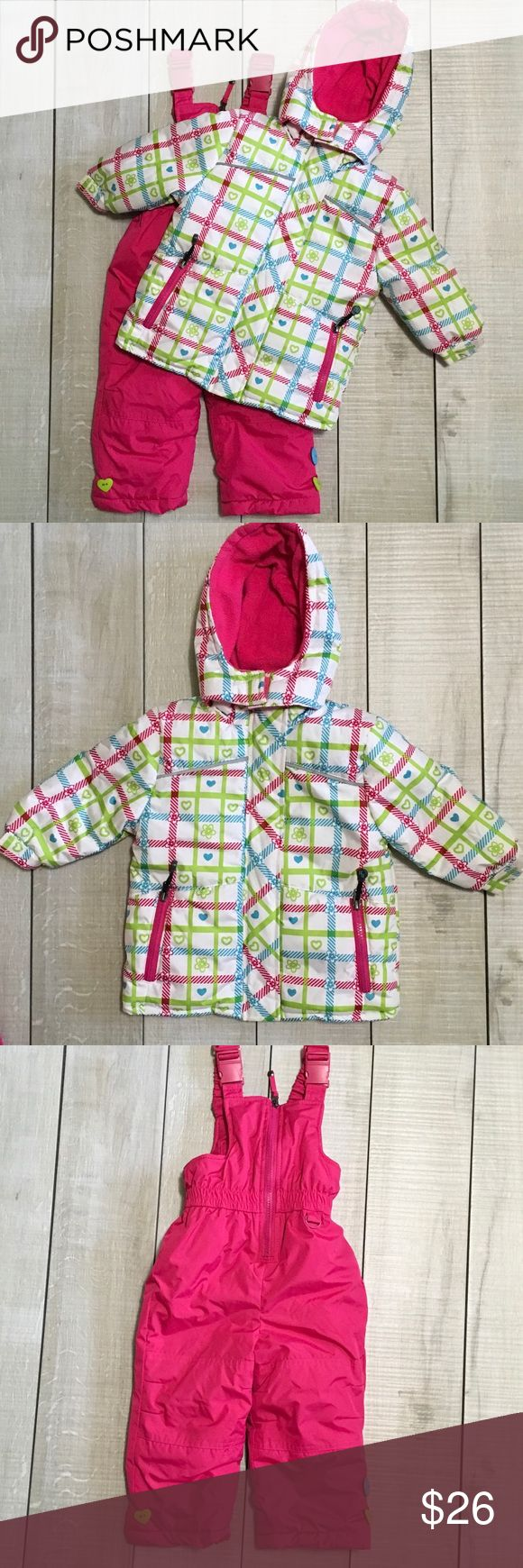 Snow Coat and Snowsuit Bibs Set Size 18m. Rugged Bear snow coat and snowsuit bib pants. Very good used condition. One decorative button is missing from pants. Smoke free home. Unscented laundry products. Jackets & Coats