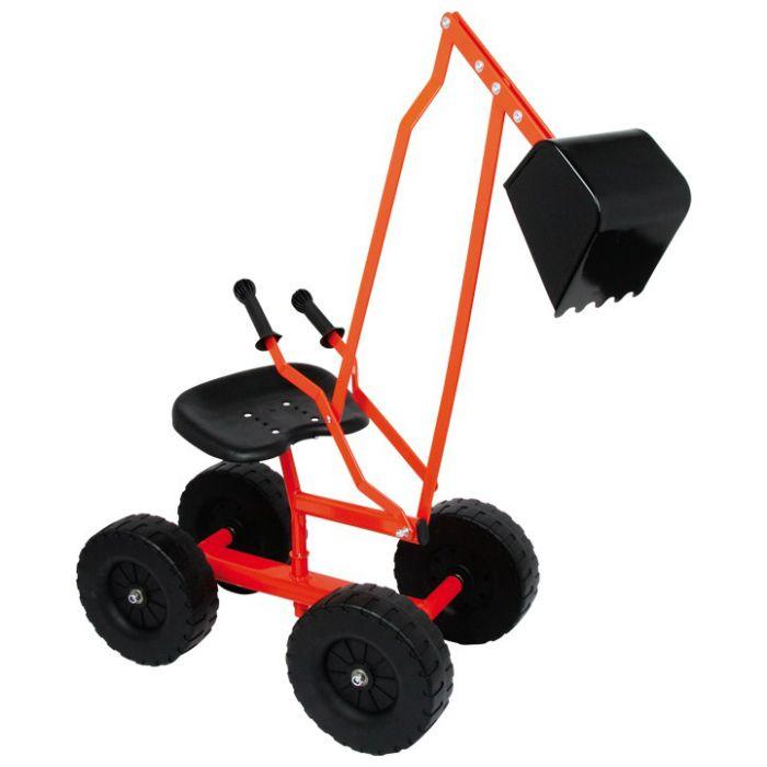 En klassisk grävmaskin i metall med hjul och grävskopa för barn att leka med i sandlådan.  Fakta Grävmaskin med skopa och 360° vridbar bas. 4 st hjul, diameter 20 cm. Från ålder 3+ ca. Mått: 104 x 33 x 58 cm. Vikt: 4,5 kg.