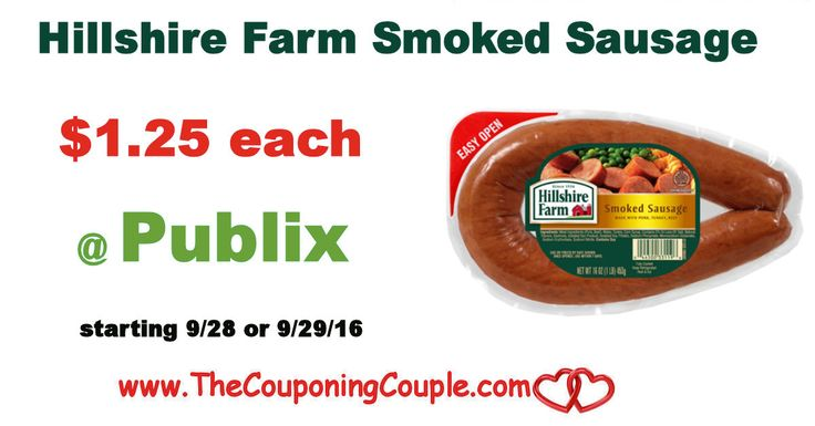Hillshire Farm Smoked Sausage Only $1.25 @ Publix starting 9/28 or 9/29/16. Get your coupons clipped and ready to score this Dinner Sausage *  Click the link below to get all of the details ► http://www.thecouponingcouple.com/hillshire-farm-smoked-sausage-only-1-25-publix-starting-929/ #Coupons #Couponing #CouponCommunity  Visit us at http://www.thecouponingcouple.com for more great posts!