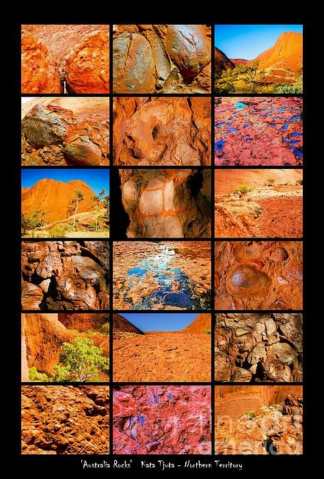 Kata Tjuta - The Olgas. 'AUSTRALIA ROCKS' Montages. An intimate look at the incredibly fascinating rocks and their formations around Australia. This country has some of the oldest and diverse rock formations in the world.   Visit my photo gallery and get a beautiful Fine Art Print, Canvas Print, Metal or Acrylic Print. 30 days money back guarantee on every purchase so don't hesitate to bring some 'INTEREST and COLOUR' in your home or office!  Prints for sale by Lexa Harpell.