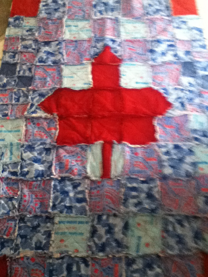 A rag-time quilt with a little patriotism :)
