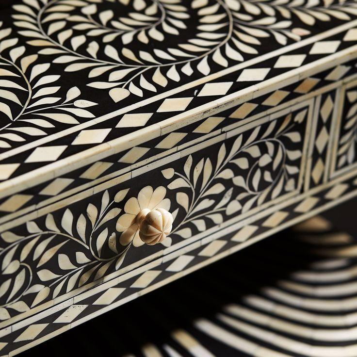 Bernhardt Interiors. Padma Desk, detail. Hand-cut, hand-laid bone inlay