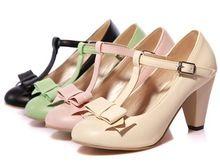 2014 nieuwe zoete boog t riem dikke hiel wees teen vrouwen pompen mode mary jane hoge hakken bruiloft schoenen vrije verschepen rusland(China (Mainland))