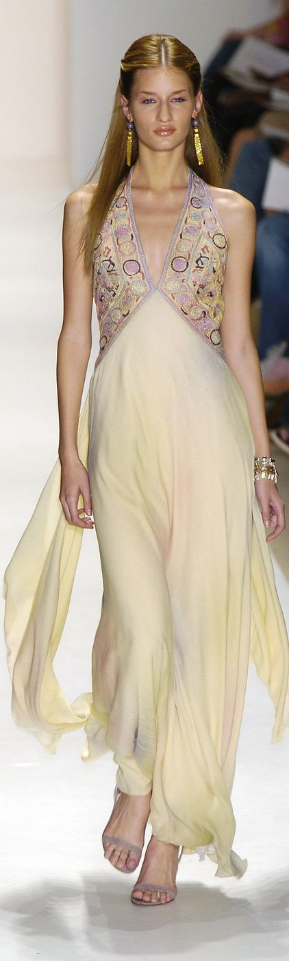 Nicole Miller ~ Cream Flowing Gown w Halter Low-V Neckline + Pastel Pattern Bodice