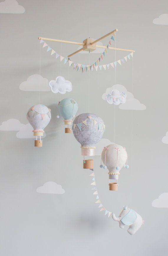 Heißluftballon Baby Mobile Elephant Kinderzimmer Dekor, Travel Theme Nursrey Decor i138   – by