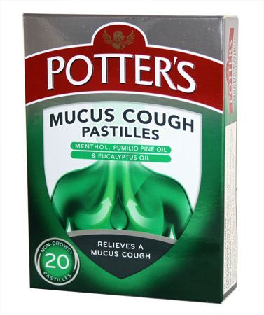 Potters Mucus Cough Pastilles (20) Potters Mucus Cough Pastilles (20): Express Chemist offer fast delivery and friendly, reliable service. Buy Potters Mucus Cough Pastilles (20) online from Express Chemist today! (Barcode EAN=501184219 http://www.MightGet.com/january-2017-11/potters-mucus-cough-pastilles-20-.asp