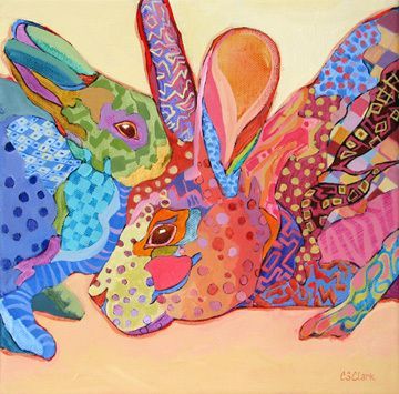 contemporary expressionistic painting of rabbits by Carolee Clark