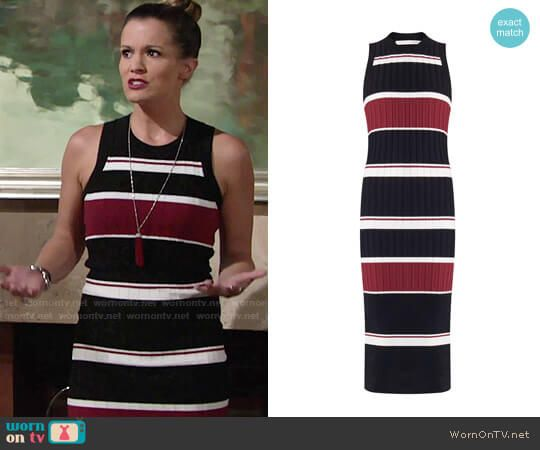 Chelsea's red and black striped dress on The Young and the Restless.  Outfit Details: https://wornontv.net/76303/ #TheYoungandtheRestless