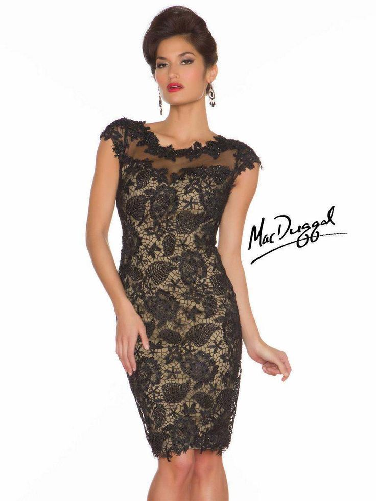 Mac Duggal 61413 Black Nude Party Cocktail Dress sz 4