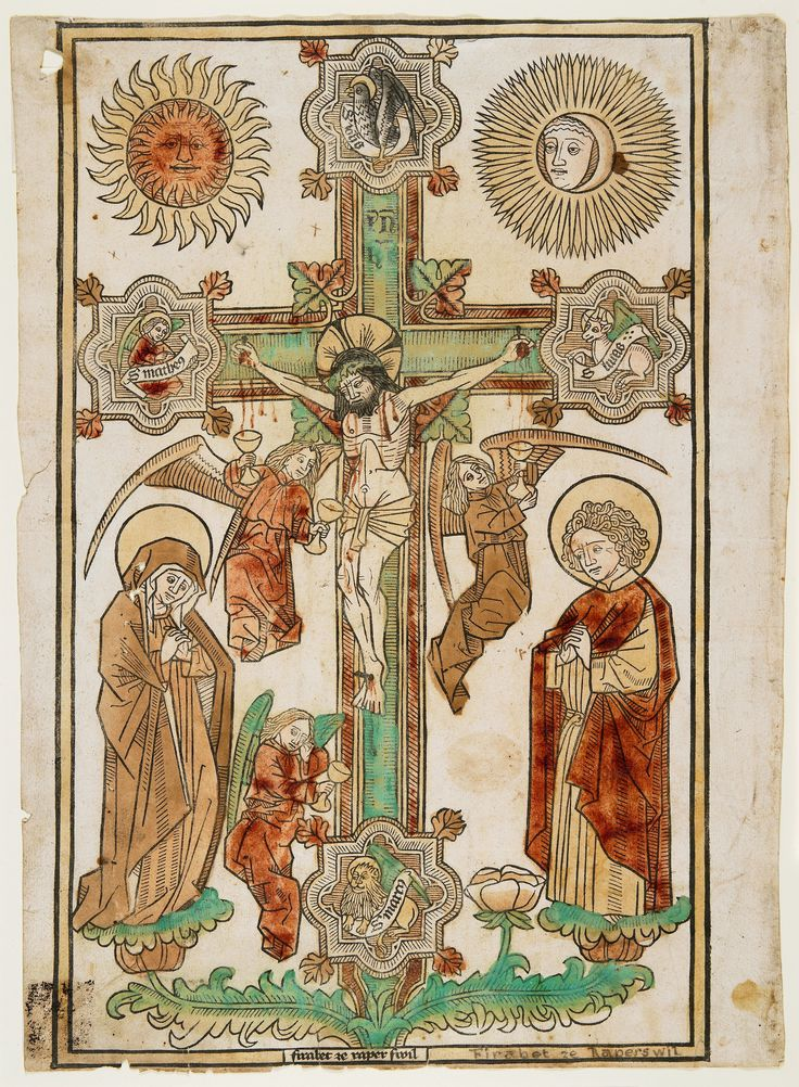 Crucifix with Three Angels and the Symbols of the Evangelists // c. 1470-1480 // Firabet of Rapperswil // Minneapolis Institute of Art // #Jesus #Christ #Calvary #Crucifixion