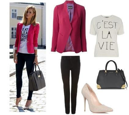 Brighten Up the Blazer | Keep it bright with a statement hot pink blazer by Emporio Armani styled with a Dorothy Perkins slogan t shirt, Hudson black cigarette jeans, Carvela nude court shoes and a Philipp Plein handbag