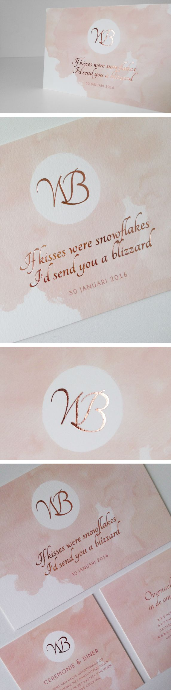 koperfolie, aquarelle, initialen, copper foil wedding invitation trouwuitnodiging watercolor paint roos verf