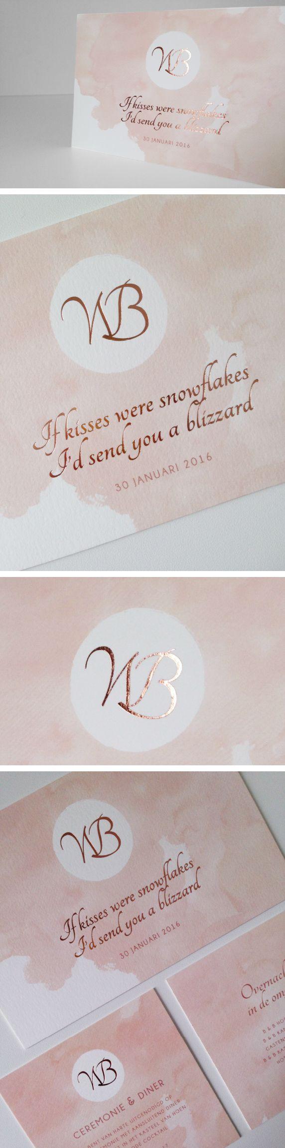 koperfolie, aquarelle, initialen, copper foil wedding invitation trouwuitnodiging watercolor paint roos verf