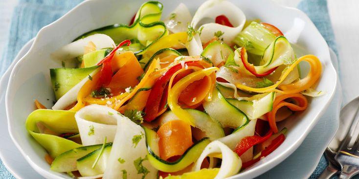 Rubans de légumes vapeur au sel de Guérande
