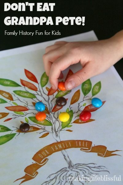 Don't Eat Grandpa Pete: Family History Game for Kids with link for free printable family trees!