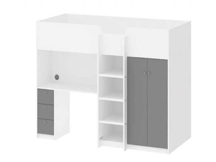 The Cambridge White & Grey High Sleeper Bed features a high sleeper design with excellent storage with its spacious desk, 3 storage shelves and a 2 door wardrobe.