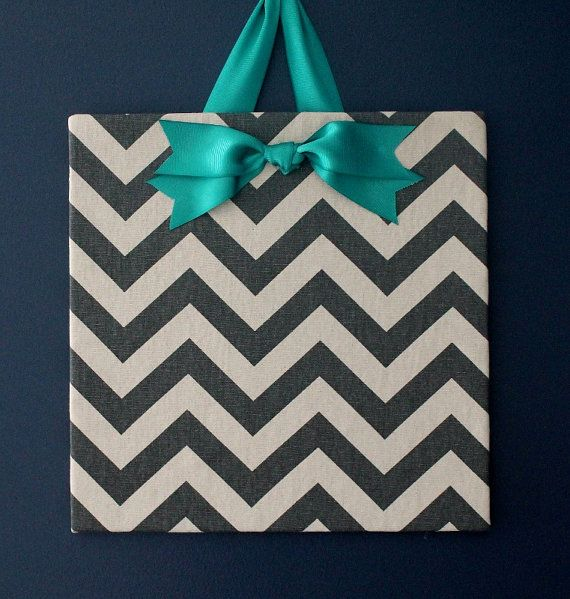Grey Chevron Cork Board with a Turquoise Bow