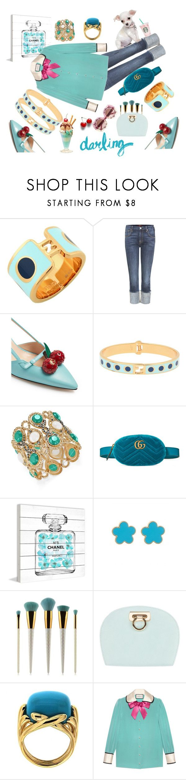 """""""Style your jeans"""" by ellenfischerbeauty ❤ liked on Polyvore featuring Fendi, 7 For All Mankind, Gucci, INC International Concepts, Marmont Hill, Fornash, Salvatore Ferragamo, Valentin Magro and Dolce&Gabbana"""