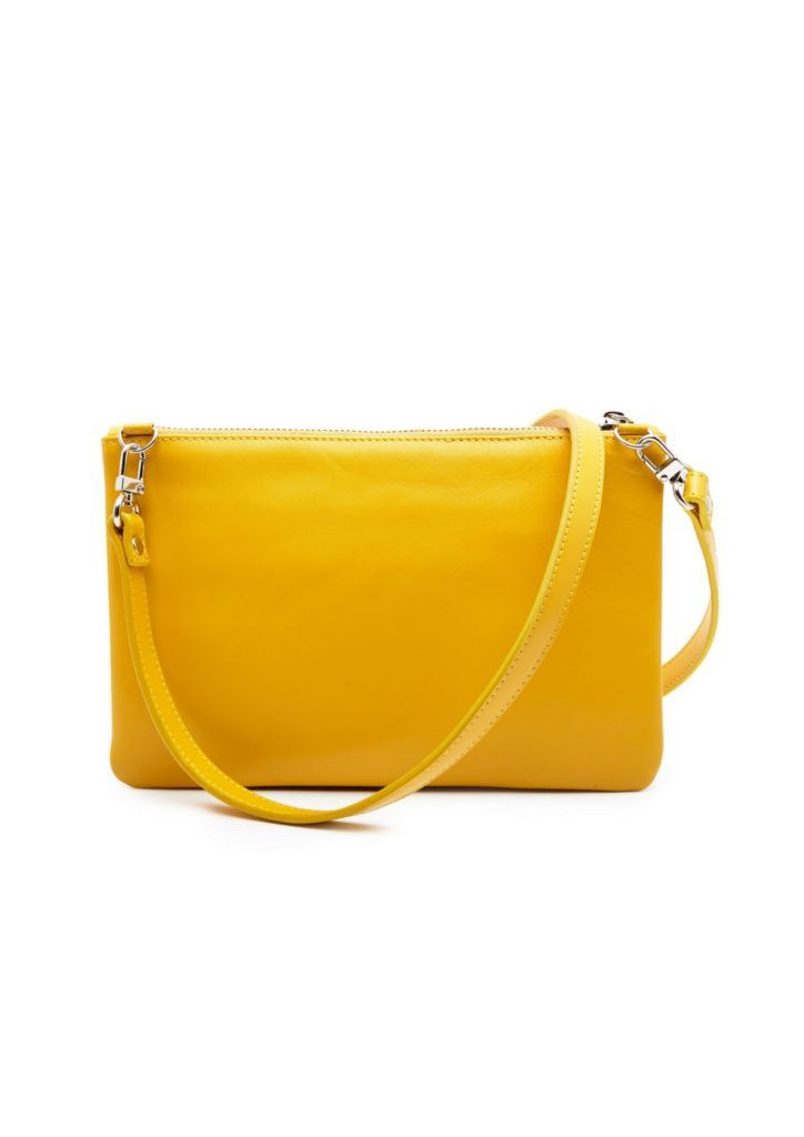 Yellow clutch in fish and cow leather from Just Fashion