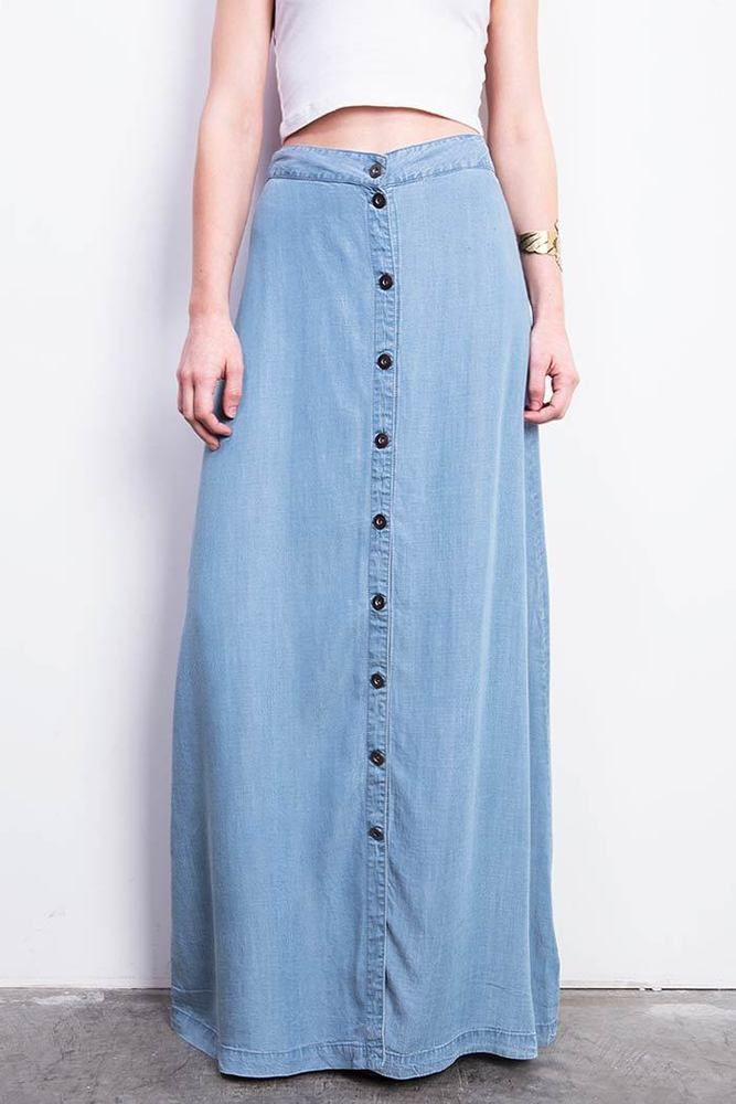 Love Stitch Womens Juniors Long Denim Maxi Skirt Soft And Flowy A Line With Button Down Design On The Front Light Chambray Fabric Looks