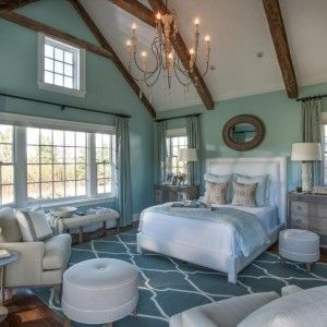 Enchanting Classic Bedroom With Beach Coloration : Coastal Blue Wall Paint And Area Rug Featuring White And Beige Furniture Set