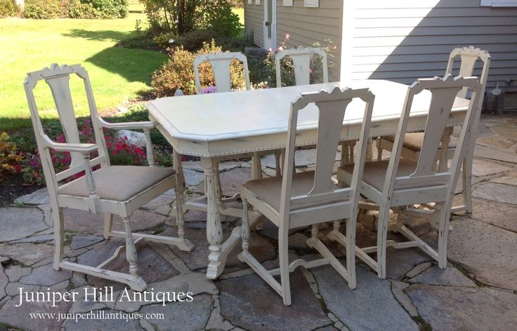1930s dining table with 6 chairs creamy white with duck for Distressed white dining table