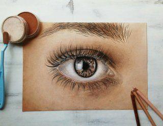 Detail oka pomocí PanPastelů jehož autorkou je Nela Kratochvílová Neli.art