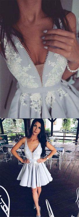 Cute v neck lace applique gray short prom dress, gray homecoming dress