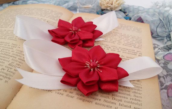 Cherry color wedding corsage wedding wrist corsage by Rocreanique