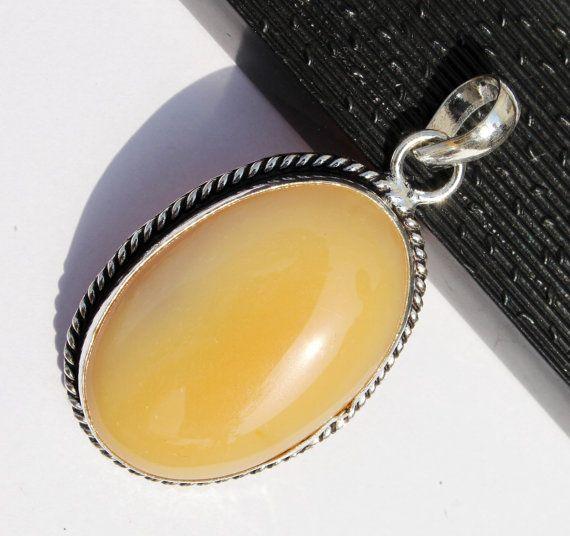 2 1/4 Yellow Agate Oval Shape Cabochon Pendant by RareGemsNJewels