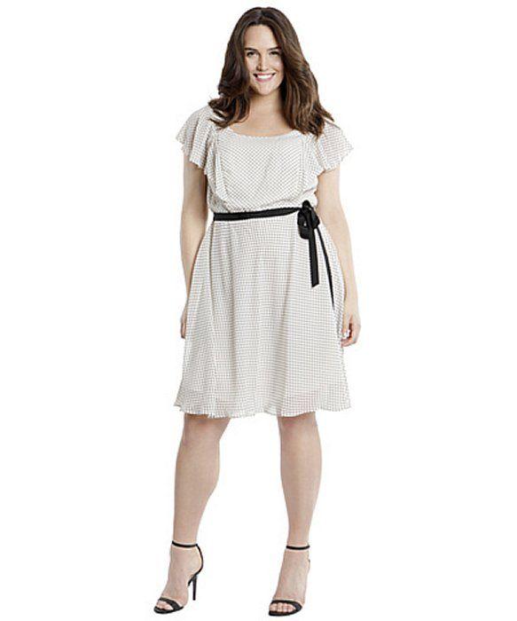 Adrianna Papell Ruffle Sleeve Dot Dress