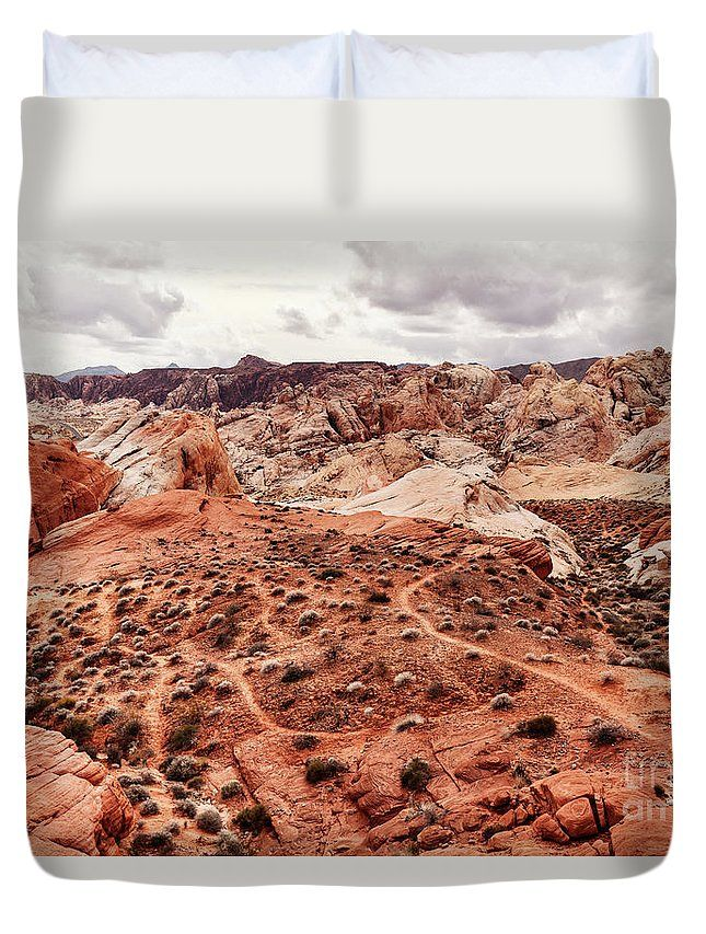 """Queen duvet cover (88"""" x 88"""") featuring the image """"My Little Secret"""" by Evgeniya Lystsova. Landscape of desert at Valley of Fire State Park, southern Nevada, USA. Our soft microfiber duvet covers are hand sewn and include a hidden zipper for easy washing and assembly. Your selected image is printed on the top surface with a soft white surface underneath. All duvet covers a machine washable."""