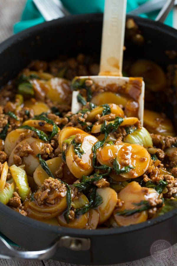 Korean Rice Cakes with Spicy Turkey Ragu and Bok Choy will expand your taste palette with its unique flavor combination! @tablefortwoblog
