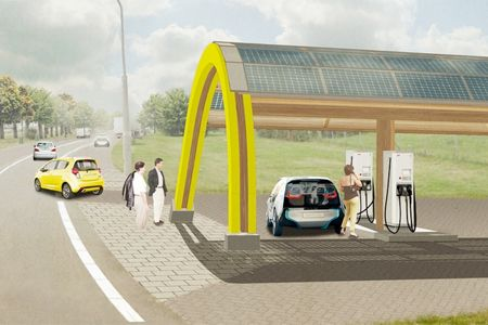 One of the many cool solar powered charging station designs - http://www.mysolarquotes.co.nz/blog/future-of-solar-power/the-coolest-solar-power-car-charging-station-designs