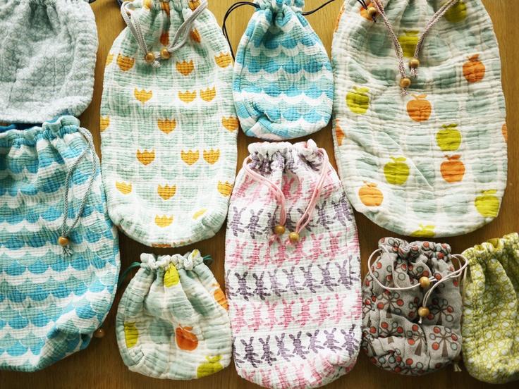 gauze cotton bags by Pata Pri / Etsy