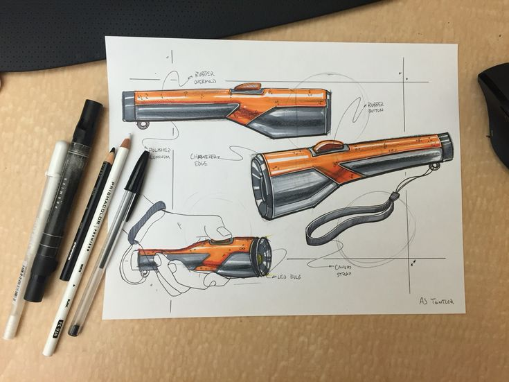 Flashlight Design Sketch Render. Done with pen and prismacolor marker. Industrial design. Product Design.