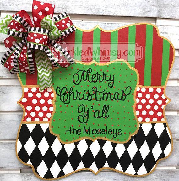 Christmas Door Hanger: Monogrammed Welcome Sign Harlequin