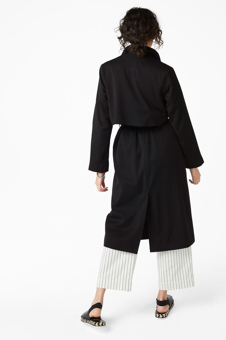 Monki Image 4 of Lightweight trench coat in Black