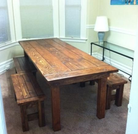 Farm House Table and Benches | Do It Yourself Home Projects from Ana White