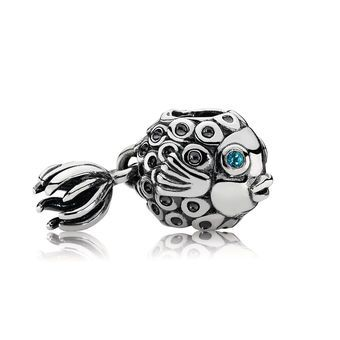 Fish Silver and Blue Topaz Charm - PANDORA