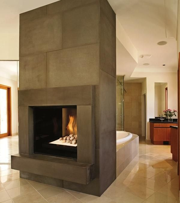 133 best images about bathroom fireplaces on pinterest fireplaces master bath and the fireplace - Concrete fireplace mantel shelf ...