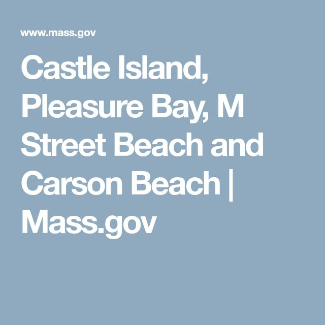 Castle Island, Pleasure Bay, M Street Beach and Carson Beach | Mass.gov