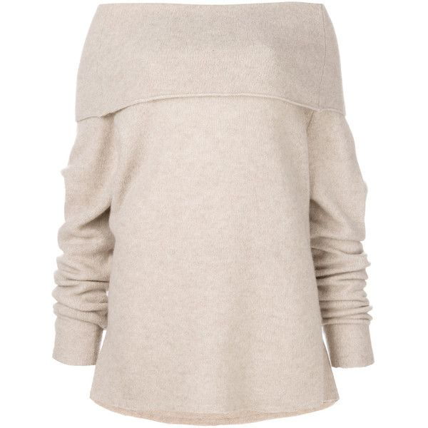 Barena off-the-shoulder jumper (970 BRL) ❤ liked on Polyvore featuring tops, sweaters, jumpers sweaters, pink off the shoulder top, jumper top, pink off the shoulder sweater and barena