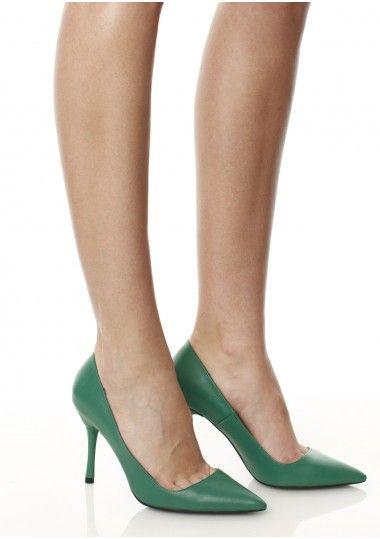 SEPALA - Pantofi piele verde  #stiletto #leather #shoes #moja
