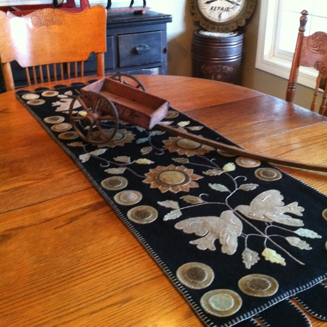 Wool table runner designed and made by Becki Carpenter. Gorgeous!