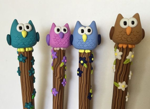 Polymer Clay Pink Owl Pen by handmademom on Etsy