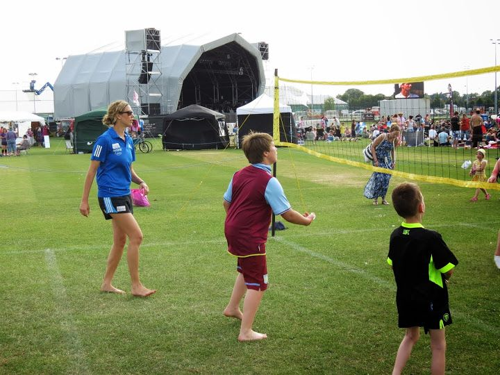 GB Beach Volleyball player Denise Johns does a little coaching at Sportbeat Festival